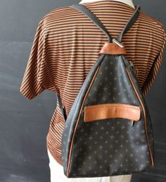 triangle backpack leather detailing by cheapopulance on Etsy, $45.00