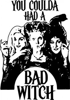 Hocus pocus svg, you coulda had a bad witch svg, halloween svg Cricut Craft Room, Cricut Vinyl, Svg Files For Cricut, Charmed Book Of Shadows, Halloween Silhouettes, The Worst Witch, Six Month, Cricut Creations, Hocus Pocus