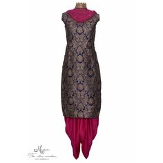 Ethnic navy blue and magenta suit featuring in brocade with swarovski highlighting-Mohan's the chic window