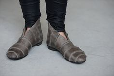 Straps ankle boots in grey by WalkByAnatDahari on Etsy,