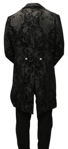 Velvet Trimmed Regency Tailcoat - Black Tapestry (Limited Availability) [003013]