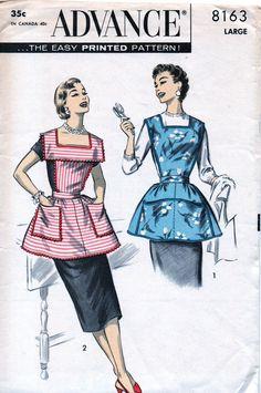 UNCUT  Vintage 50's Advance Sewing Pattern 8163 - Bib Apron Bib Top and Slip On Aprons - Size Large