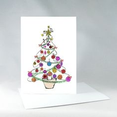 Christmas Tree Card Fun Holiday Card Holiday by KateKreatesArt