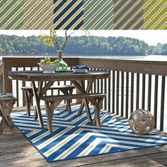 This eye catching geometric pattern area rug will help your outdoor spaces feel more like home with its wide range of cool and bright colors. This durable polypropylene rug will endure the elements and continue to look great for many years.�