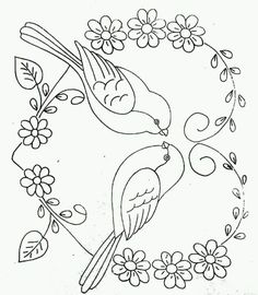 Hand Embroidery Design Patterns, Bird Embroidery, Embroidery Stitches, Animal Coloring Pages, Motif Floral, Fabric Painting, Bunt, Drawings, Crafts