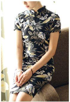 Black Short Floral Linen Qipao / Cheongsam Dress