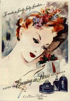 Evening in Paris ad illustration from Screenland magazine Dec' I love this ad, and you don't realize her lover is there beside her in the shadow after giving her the gift. Old ads just have so much charm and glamour. Vintage Makeup Ads, Vintage Beauty, Vintage Ads, Retro Makeup, Vintage Woman, Vintage Soul, Vintage Lingerie, Vintage Paper, Vintage Signs