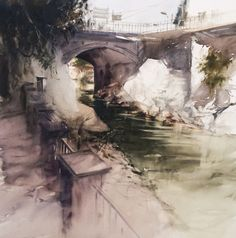 The darkness of the canal stretches out across the walls and pavement to make it seem as though its the focal point of the painting.