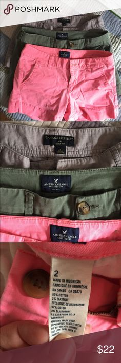 Shorts bundle American Eagle and Banana Republic 2-American Eagle shorts in kaki green and pink midi stretch , 1- Banana Republic grey Ryan fit.  All are size 2 and very lightly worn American Eagle Outfitters Shorts
