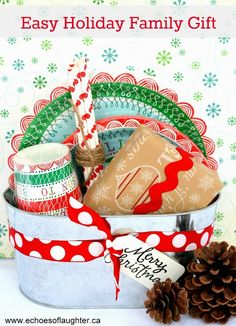 Easy Holiday Family Gift-make up a basket of plates, cups, straws, napkins, a movie and a gift card for pizza or takeout if the budget allows! Also gives Mom a night off from dishes!