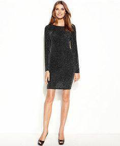 087c79edf6 MICHAEL Michael Kors Long-Sleeve Sparkle Chain Cowl-Back Dress   Reviews -  Dresses - Women - Macy s
