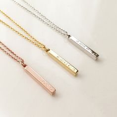 Dainty 4 Sided Vertical Bar Necklace, teen gift Charm necklace Bridesmaid gift for mom gift for her Personalized Name Necklace by MignonandMignon on Etsy https://www.etsy.com/listing/272469368/dainty-4-sided-vertical-bar-necklace