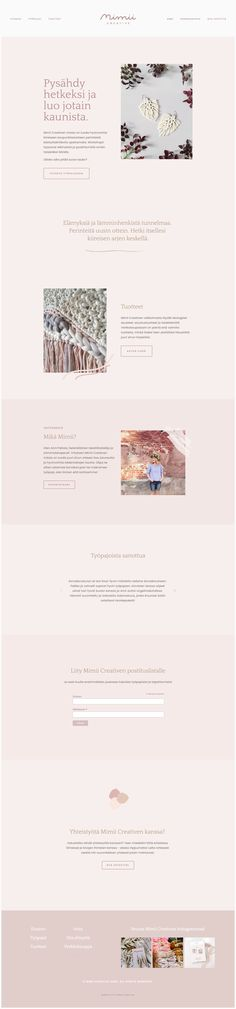 Nettisivut Mimii Creativelle - etusivu.  Homepage design for Mimii Creative. #squarespace #website #webdesign