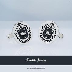 Crowley family crest cufflinks oval