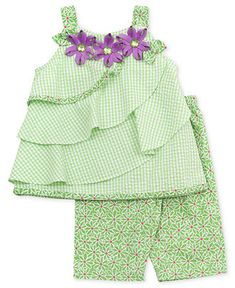 Rare Editions Baby Set, Baby Girls Gingham Tiered Top and Flower Pants - Kids Baby Girl months) - Macys Kids Frocks Design, Baby Frocks Designs, Baby Girl Dress Patterns, Baby Dress Design, Frocks For Girls, Little Girl Dresses, Couture Bb, Toddler Outfits, Kids Outfits