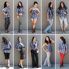 how to wear your boyfriend or brother's shirt 10 ways: Ladies, ever wished you could rock an oversized button down but weren't sure how? Here are 10 ways to style a men's shirt, including steps for how to turn it into a strapless sundress! Outfits Con Camisa, Outfits Mujer, Look Fashion, Diy Fashion, Stylish Outfits, Cute Outfits, Stylish Eve, Baggy, Men's Clothing