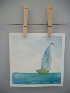 SALE//CLEARANCE, rough seas, framed original watercolor painting, sailboats, abstract watercolor, nautical, new england. $35.00, via Etsy.
