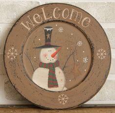 Decorative Wooden Plate - Starry Snowman Welcome-Snowman plate, Decorative Plate, Country Christmas Home Décor, Painted Snowman Plate, Snowm...