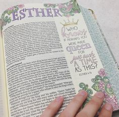 I never use pinks and purples so I figured Esther would be the perfect place to start. What I love about bible journaling is noticing how much I reflect on the verses as I write or draw. Esther makes me think of purpose. We may not immediately understand Bible Journaling For Beginners, Bible Study Journal, Scripture Study, Bible Art, Bible Scriptures, Bible Quotes, Scripture Doodle, Faith Quotes, Bible Drawing