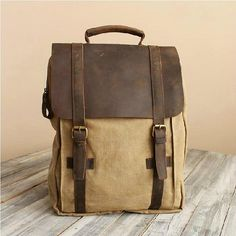 Khaki LeatherCanvas Backpack / IPAD Bag / door 1SunFlowerWorks1, $49.00