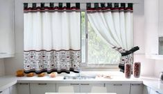 Home Decor: 20 Modern Kitchen Window Curtains Ideas Family Room Curtains, Kitchen Window Curtains, Drapes Curtains, Curtain Patterns, Curtain Designs, House Blinds, Sofa Colors, Modern Kitchen Design, Decoration