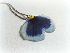 Violet Pansy Petal resin necklace - real Blue Pansey flower Botanical specimen pressed preserved flower Mauve lilac purple Nature lover