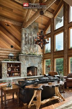 Great Room View | Milled Log Home | PrecisionCraft Log Homes | by PrecisionCraft Log & Timber Homes
