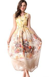 Yellow Shoulder Strap Floral Bandeau Silk Dress. Not totally crazy about the print, but like the flowy of it.