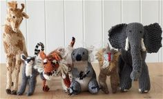 Knitted zoo animals with some patterns       Shared by Vivikene