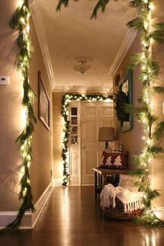 There's nothing cozier than the glow of Christmas lights. Take inspiration from this house tour on Modern Mountain Life and drape every doorway and entryway in your home with garlands and twinkling lights.