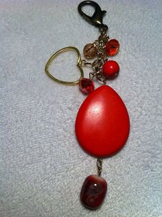 Red beads, gold chain, small beads key chain on Etsy, $5.00
