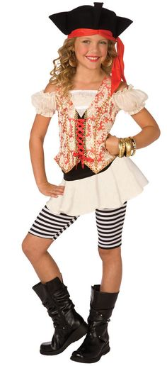 Swashbuckler Child Costume This costume includes dress, leggings, and hat. Does not include bracelets, earrings, or boots. Weight (lbs) 1.02 Length (inches) 15 Width (inches) 11 Height(inches) 1.5