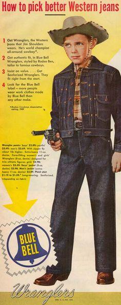 Wrangler jeans vintage ad. Boy's. Western. Cowboy.