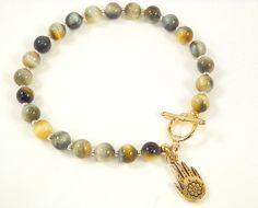 Tiger eye bracelet 14k gold plated clasp henna hand by LynRoma, $39.00