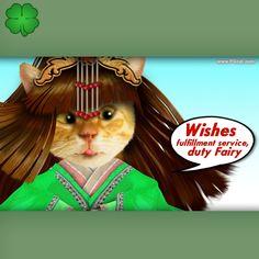 Wishes fulfillment, greeting card, add words, cute nice cat, kawai
