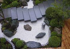 Patio Japanese Zen Garden green plants create stones