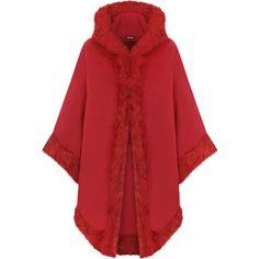 Vicki Fur Hooded Cape ($47) ❤ liked on Polyvore featuring outerwear, jackets, capes, coats, red, hooded shawl, red cape coat, faux fur trim cape, cape coat and cape shawl