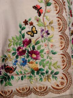 """""""Killerton Fashion Collection © National Trust / Sophia Farley and Renée Harvey, 1865 Jacket of silk and wool"""" And we think we're clever and skilled today. Silk Ribbon Embroidery, Embroidered Silk, Embroidery Stitches, Embroidery Patterns, Hand Embroidery, Machine Embroidery, National Trust, Art Du Fil, Embroidery Suits Design"""