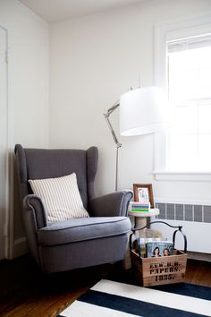 Founder and CEO of Boredom to Boardroom Kari Reston | The Everygirl Ikea Strandmon armchair