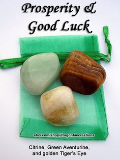 Prosperity and Good Luck Crystal Healing Set, Green Aventurine, Tigers Eye, Citrine.  by dragonfaecreations, $6.00