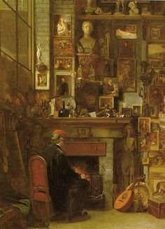 By the Studio Fire, 1860, oil on canvas by James Dawson Watson, British, 1832-1892.