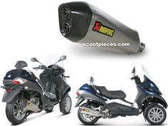 Pot Akrapovic SLIP-ON LINE STREET LEGAL non catalyse Gilera / Peugeot / Piaggio 400 - 500 MP3 400