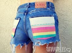 high waisted shorts 2017- cute pockets by UnraveledClothinghigh waisted shorts 2017 2018 Pretty Outfits, Cool Outfits, Summer Outfits, Diy Fashion, Fashion Outfits, High Wasted Shorts, Diy Clothes, Clothes For Women, Belly Shirts