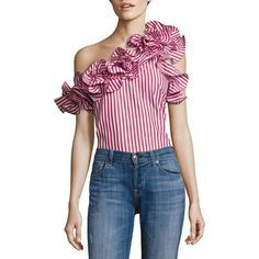 "Of-the-moment ruffles shape striped one-shoulder top Ruffled one-shoulder neckline Short sleeve Concealed side zip About 26"" from shoulder to hem Cotton Dry cl…"