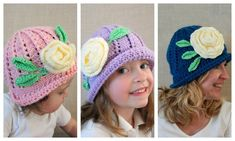 """These adorable hats are adaptation of the popular Russian hats from 2015. This pattern uses easy-to-access soft worsted weight or sport weight yarn. Pattern includes directions for leaves and rose."""