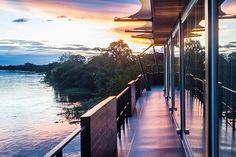 Aqua Amazon  You can enjoy this beautiful view from a luxury cruise ship that travels down the Amazon river. You get an even better view from the rooms, which are on river level.