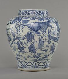 """A LARGE BLUE AND WHITE 'FIGURE' JAR MING DYNASTY The jar painted an ancient story """"Eight immortals birthday for Antarctic immortal"""". 13 5/8 in. (34.6 cm) diameter."""