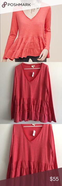 Deletta - Anthropologie Thea Ruffle Peplum Top Nwt!! •Polyester, rayon, spandex •Ruffled hem detail •Pullover styling •Hand wash •Imported Anthropologie Tops