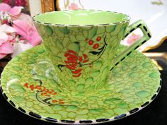 ROYAL WINTON TEA CUP AND SAUCER CHINTZ LIME GREEN ROCK GARDEN PATTERN TEACUP