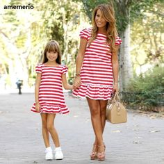 Mother kids Mom and daughter dress striped mother daughter dresses Short sleeve Girl big sister family look matching clothes, Diy Abschnitt, Mommy And Me Dresses, Mother Daughter Dresses Matching, Mother Daughter Outfits, Mom Dress, Matching Family Outfits, Matching Clothes, Outfits Madre E Hija, Casual Party Dresses, Clothes 2019